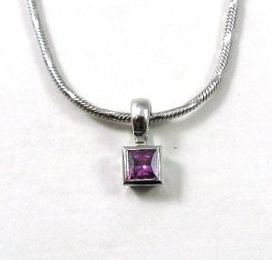 Pink Sapphire solitaire white gold pendant Vardit