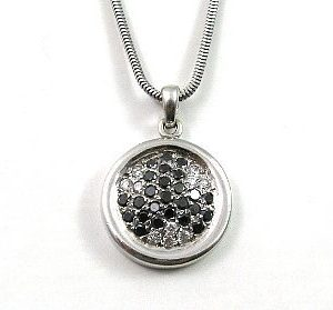 Black & white diamonds round pendant