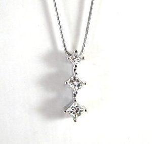 Three square cut diamonds white gold pendant