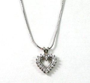 Diamonds small heart white gold pendant