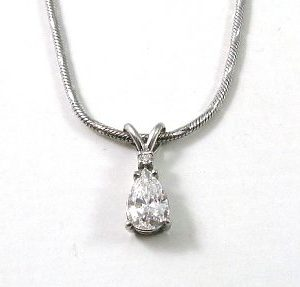 Diamonds pear shape white gold pendant Charlotte