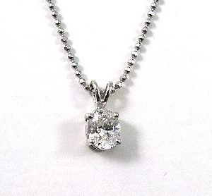 Oval cut diamond solitaire white gold pendant