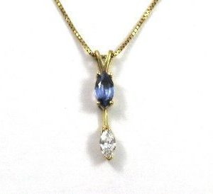 Tanzanite diamond yellow gold pendant Mika