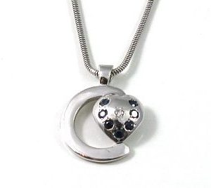 Diamond blue sapphires white gold pendant c heart