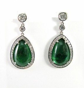 Emeralds halo diamonds teardrop dangle earrings model Elinor
