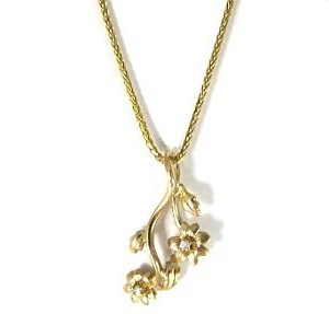 Flowers pendant with diamonds setting