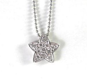 Diamonds star white gold pendant
