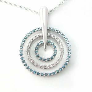 Three circles blue-white diamonds gold pendant