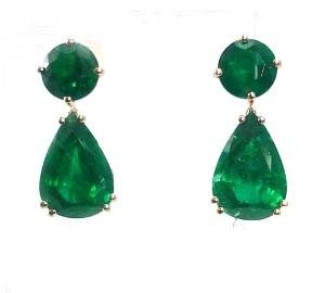 Emeralds teardrop stud earrings model Angeline