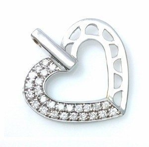Diamonds heart pendant model two face heart