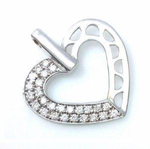 Diamonds heart white gold pendant model two face