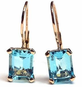 Aquamarine solitaire dangle earrings model Stella