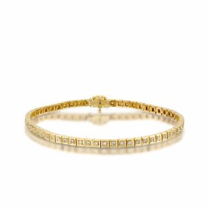 Diamonds tennis bracelet yellow gold model Rachel