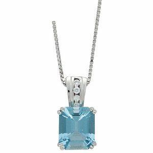 Aquamarine diamonds white gold pendant model Michaela