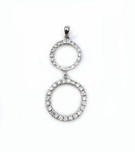 Diamonds double karma white gold pendant