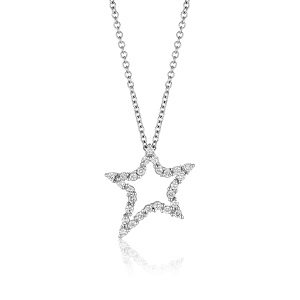 Diamonds star white gold pendant model asymmetrical star