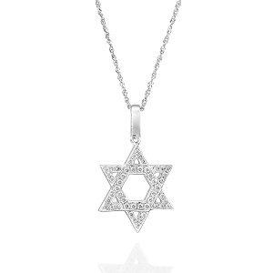 Diamonds Star of David white gold pendant