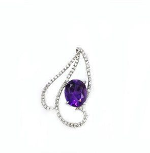 Amethyst & diamonds pendant model Clarissa