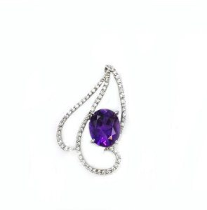 Amethyst diamonds white gold pendant Clarissa