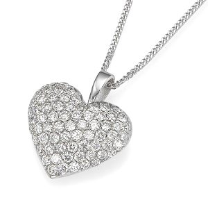 Diamonds heart inflated white gold pendant
