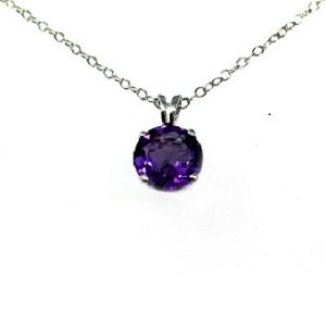 Amethyst solitaire white gold pendant model Gila