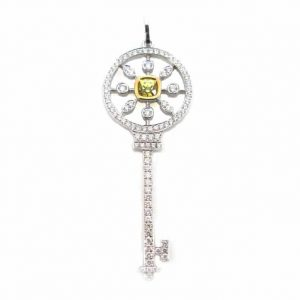 Yellow cushion cut diamond & diamonds key pendant