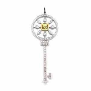 Yellow cushion cut diamond & diamonds key pendant