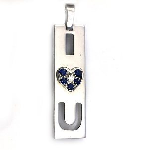 Diamond blue sapphires white gold I Love U pendant