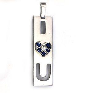 Diamond blue sapphires white gold I Love U pendant
