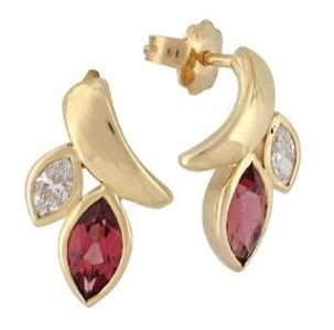 Rhodolite Garnets & diamonds earrings model leaves
