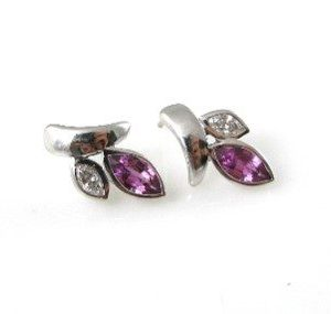Leaf earrings set with Pink Sapphire and diamonds