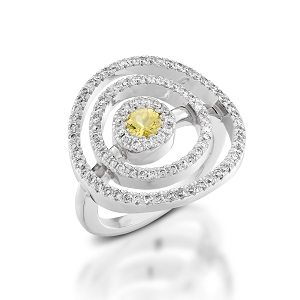 Yellow Sapphire & diamonds ring model Circles in the air