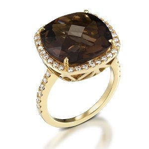 Smoky Topaz & diamonds ring model Sarah - YG