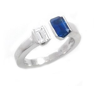 Blue Sapphire & diamond open ring model Shani