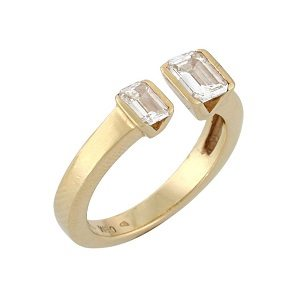 Emerald cut diamonds open ring model Shani
