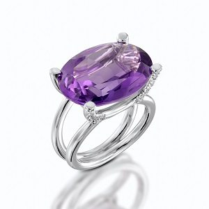 Amethyst & diamonds ring model Taurus