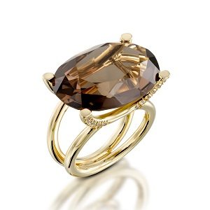 Smoky Topaz & diamonds ring model Taurus