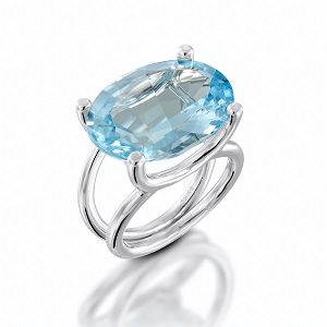 Blue Topaz solitaire ring model Taurus