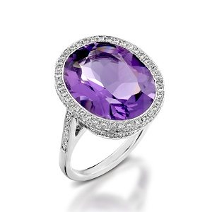 Amethyst & diamonds cocktail ring