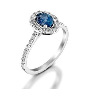 Blue Sapphire & diamonds ring model Moran