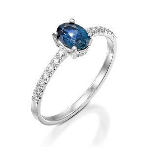 Blue Sapphire & diamonds ring model Adi