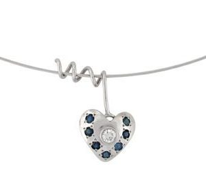 Diamond blue sapphires white gold heart pendant Libi