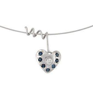 Diamond blue sapphires white gold heart pendant Libi