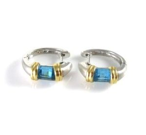Hoop earrings set with Blue Topaz