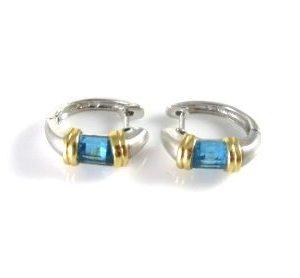 Hoop earrings set with Blue Topaz