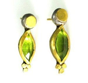 Handmade Peridot solitaire earrings