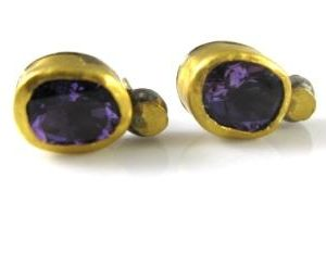 Handmade Amethyst solitaire earrings