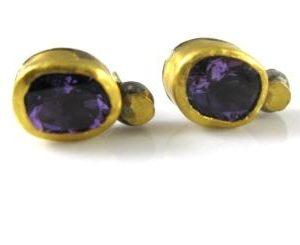 Handmade Amethyst solitaire earrings