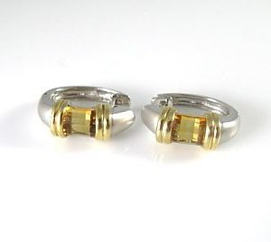 Hoop earrings set with Citrine