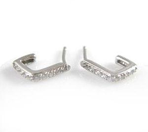 Petite semi hoop diamonds setting earring